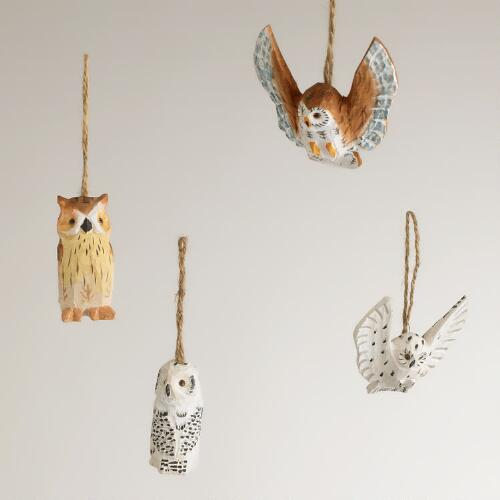 Wood Owl Ornaments,  Set of 4