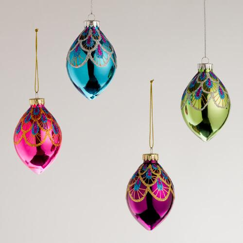 Peacock Glass Teardrop Ornaments, Set of 4