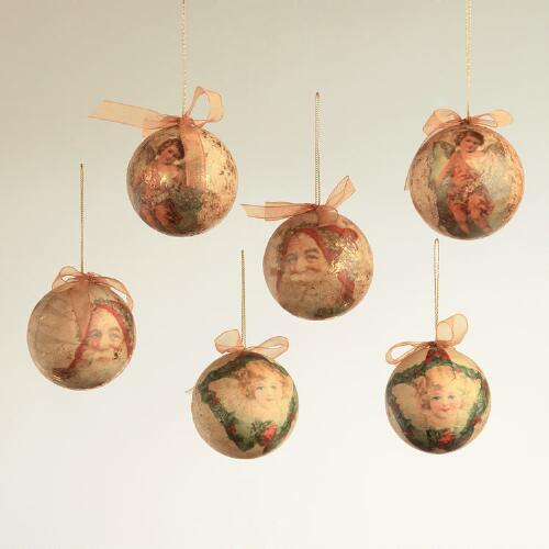 Decoupage Victorian Ball Ornaments, Set of 6