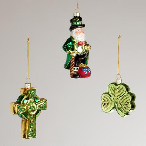 Ireland Glass Ornaments, Set of 3