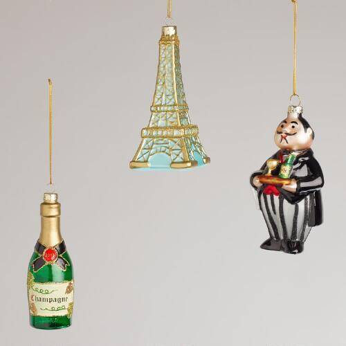French Glass Ornaments, Set of 3