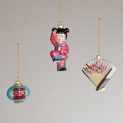 China Glass Ornaments, Set of 3