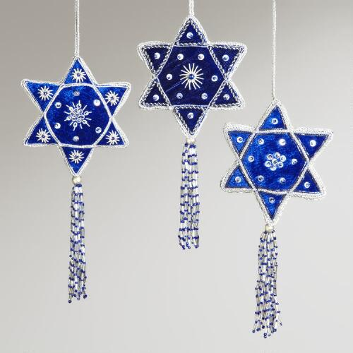 Star of David Ornaments,  Set of 3