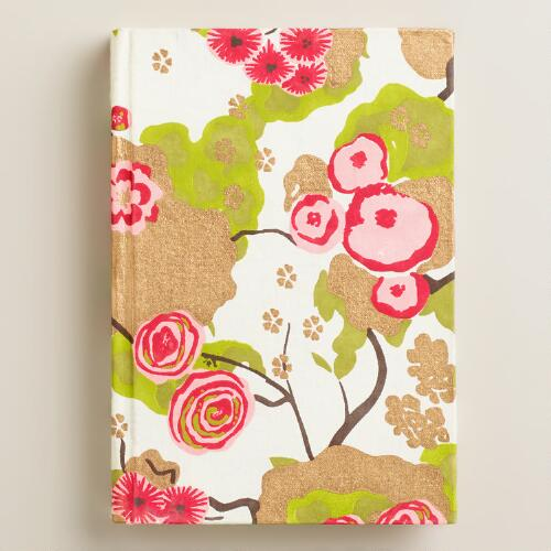 Pink and Green Asian Floral Handmade Journal