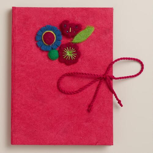 Large Pink Nepali Felt Journal