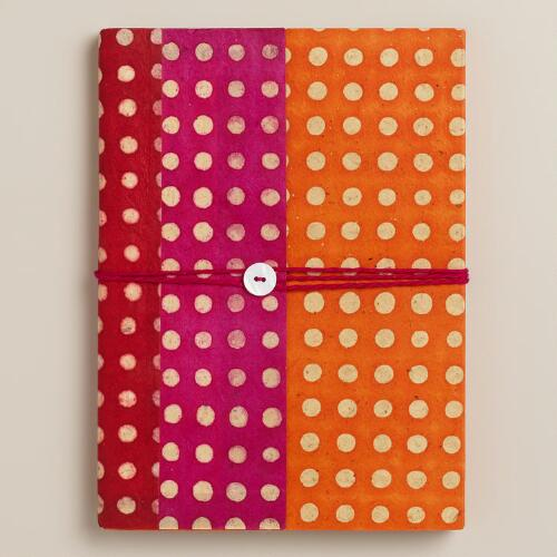 Large Dots Nepali Felt Journal