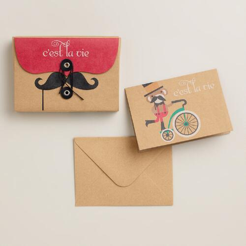 Krafty Stache Notecards, Set of 8