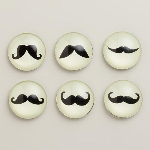 Mustache Magnets, Set of 6