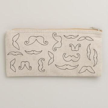 Mustache Canvas Pencil Case