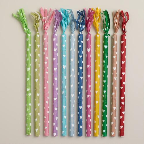 Paper Wrapped Heart Pencils, Set of 12