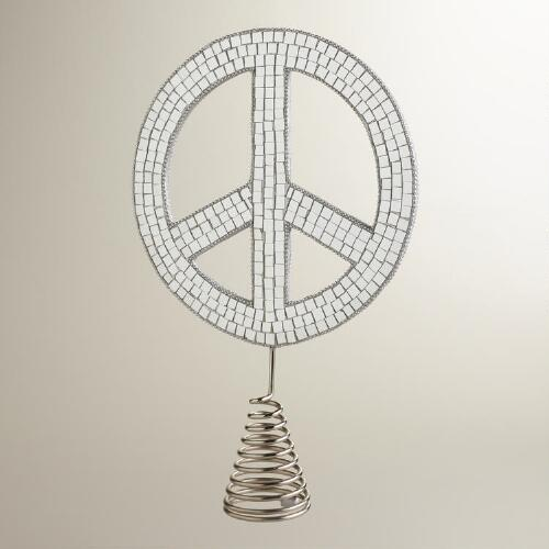 Mirror Peace Sign Tree Topper