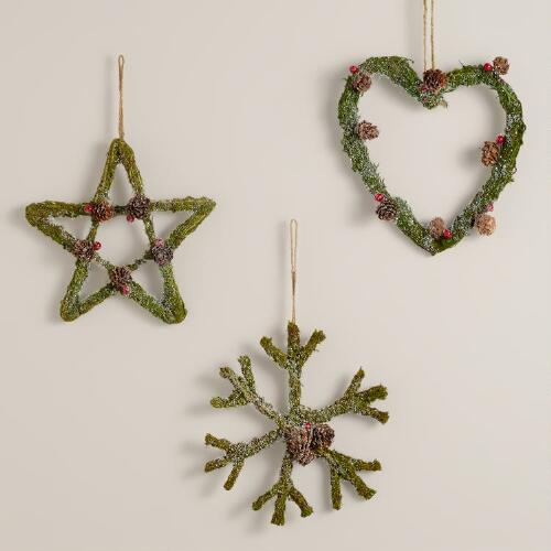 Mossy Heart, Snowflake and Star Wall Decor, Set of 3