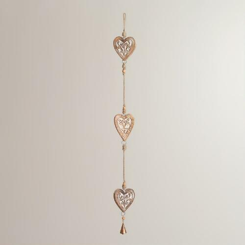 Wood Triple Heart Wall Decor