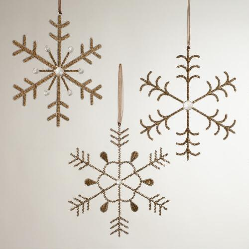 Gold Beaded Snowflakes, Set of 3
