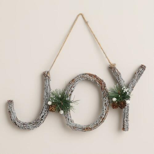Joy Glittered Twig Wall Decor