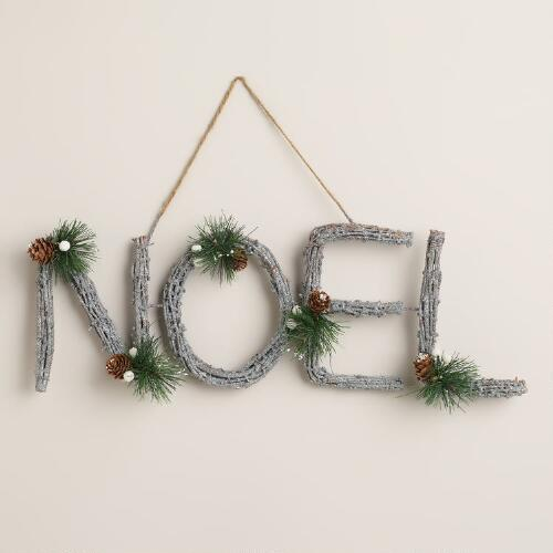 Noel Glittered Twig Wall Decor