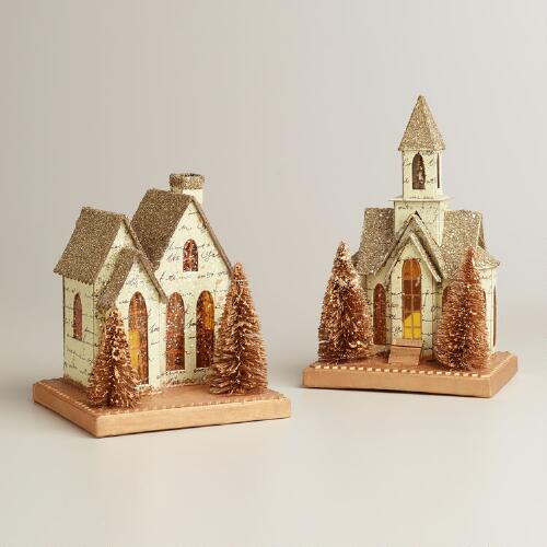 Glitter House and Church, Set of 2