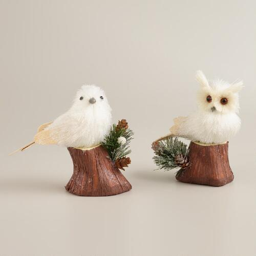 Natural Fiber Bird and Owl on Stump, Set of 2
