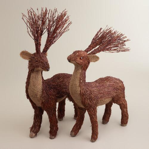 Natural Fiber Burlap Deer, Set of 2
