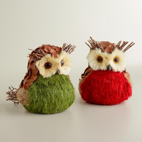 Natural Fiber and Burlap Owls, Set of 2