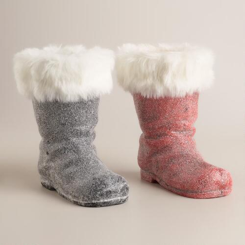 Furry Santa Boots, Set of 2