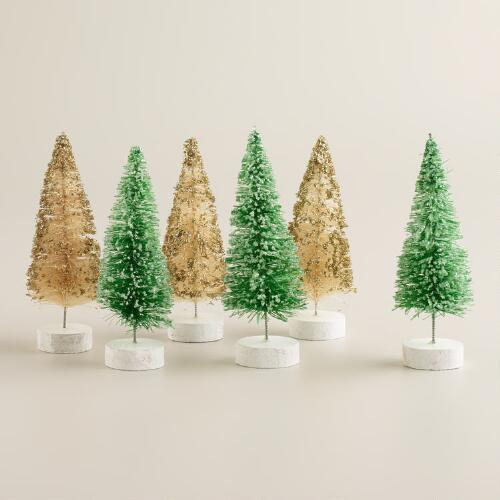 Mini Boxed Bottlebrush Trees, Set of 6