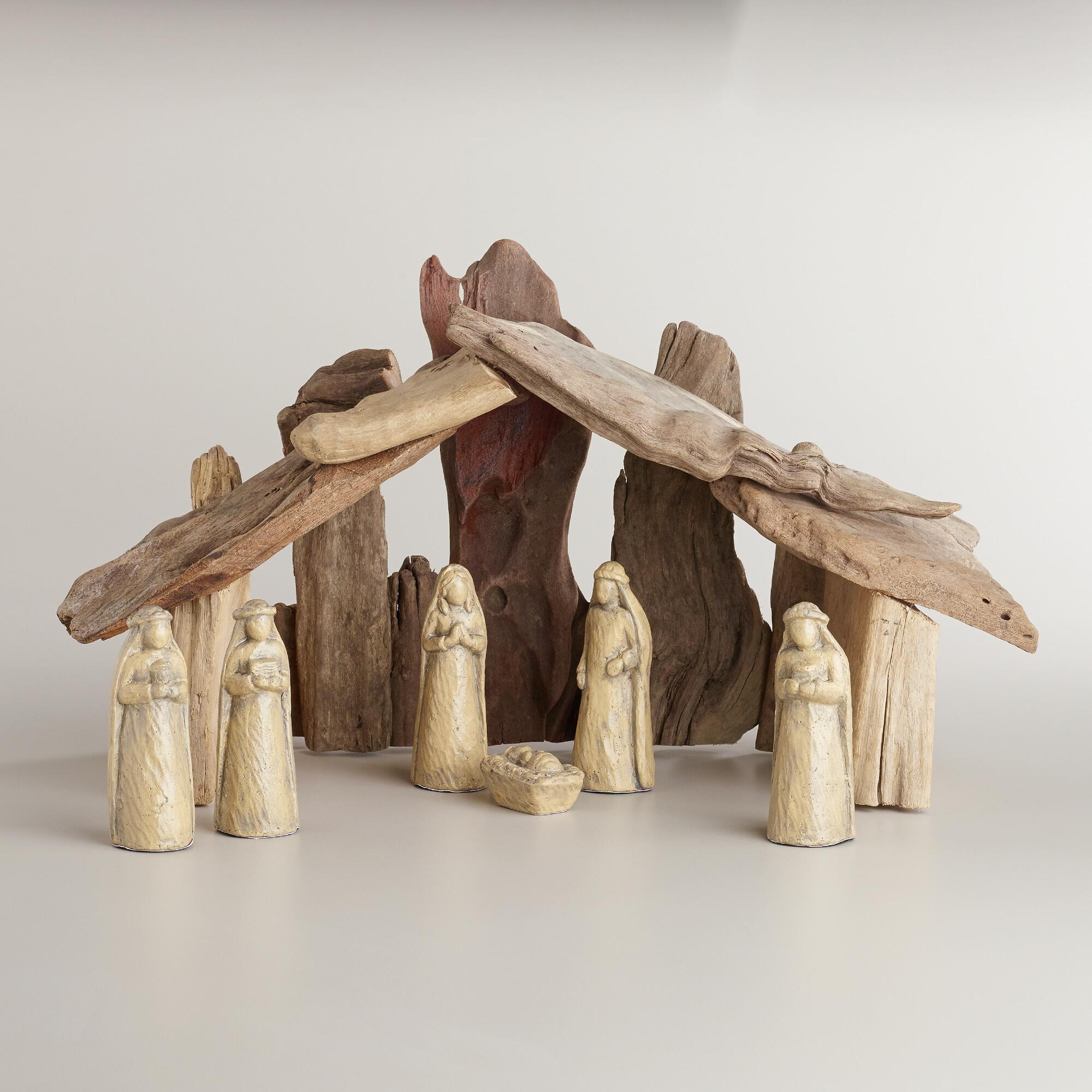 Driftwood nativity scene
