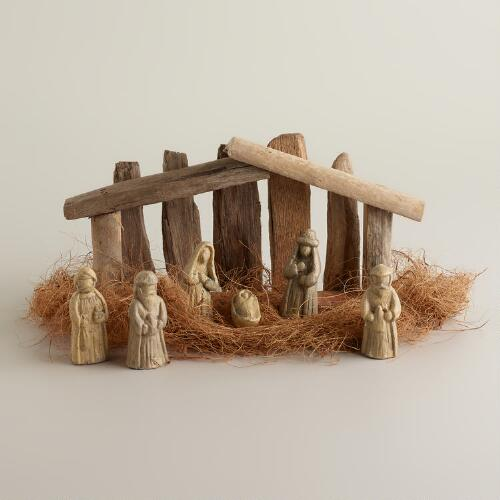 Small Driftwood Nativity Scene, 7-Piece