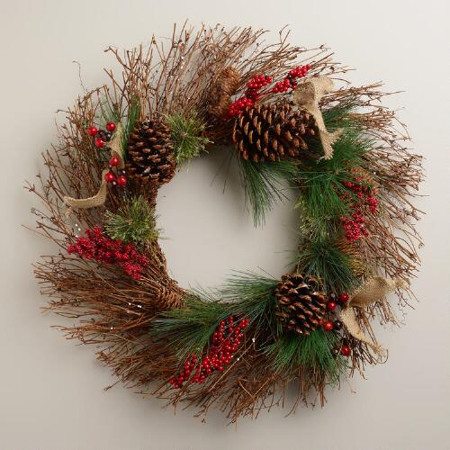 Pinecone and Burlap Wreath