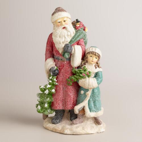 Victorian Paper Pulp Santa and Child