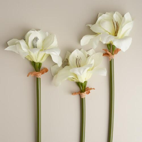 White Glittered Amaryllis Stems, Set of 3