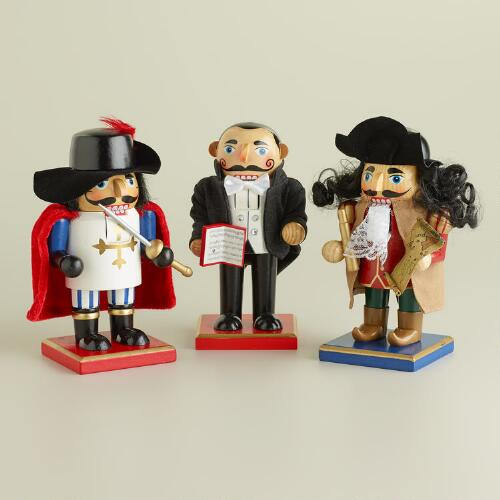 French, Italian and Spanish Chubby Nutcrackers, Set of 3