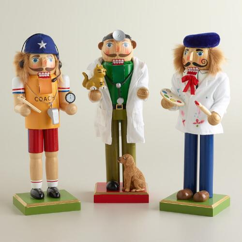 Veterinarian, Coach and Painter Nutcrackers, Set of 3