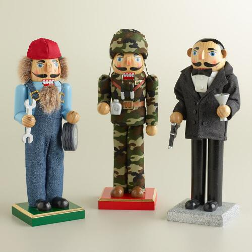 Mechanic, Soldier and Spy Nutcrackers, Set of 3
