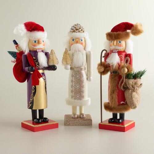 Old-World Santa Nutcrackers, Set of 3