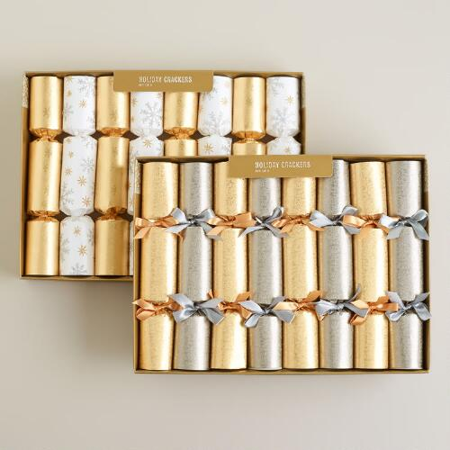 Medium Gold and Silver Foil Crackers, Set of 2