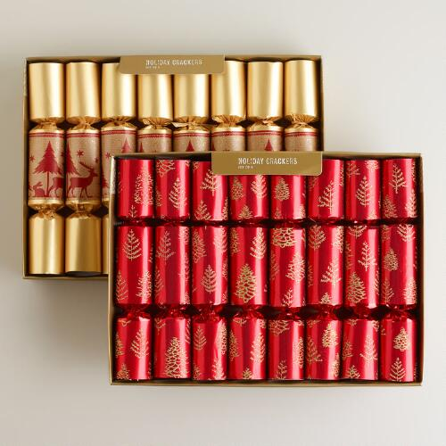 Medium Gold and Red Forest Crackers, Set of 2