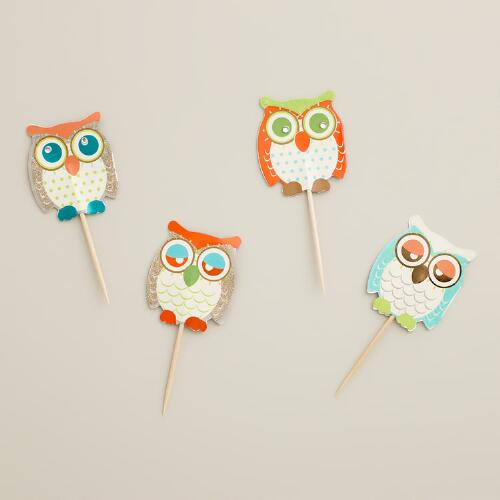 Owl Embellished Picks, 12-Count