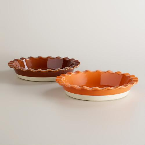 Ruffled Pie Dishes, Set of 2
