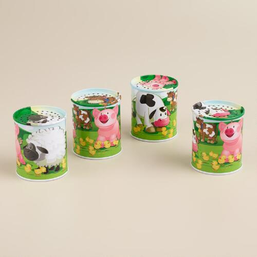 Tin Animal Sound Maker, Set of 4