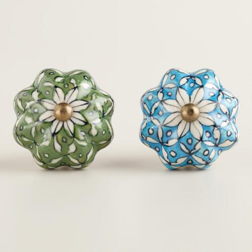 Turquoise and Green Ceramic Watermelon Knobs, Set of 2