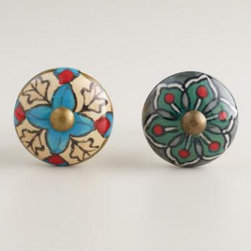 Green and Ivory Geometric Ceramic Knobs, Set of 2