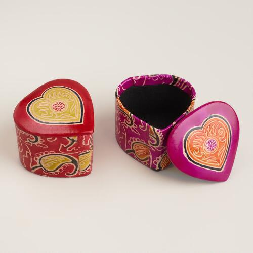 Embossed Heart-Shaped Boxes, Set of 2