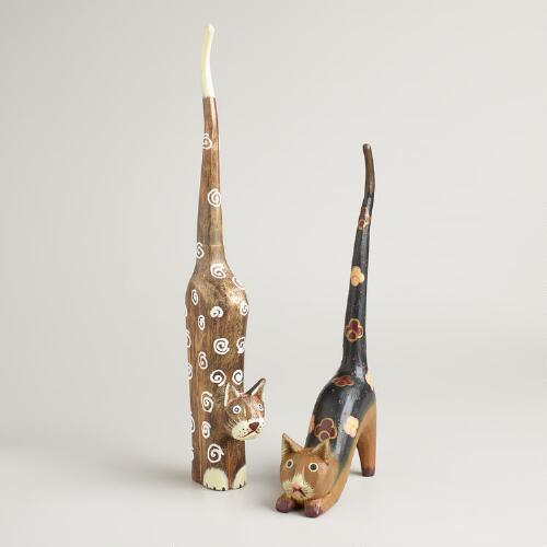 Long Wooden Cat Ring Holders, Set of 2