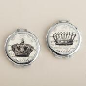 King and Queen Compact Mirrors, Set of 2