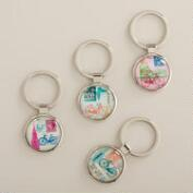 Travel Icons Glass Keychains, Set of 4