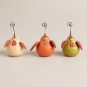 Fat Chicken Wooden Cardholders, Set of 3