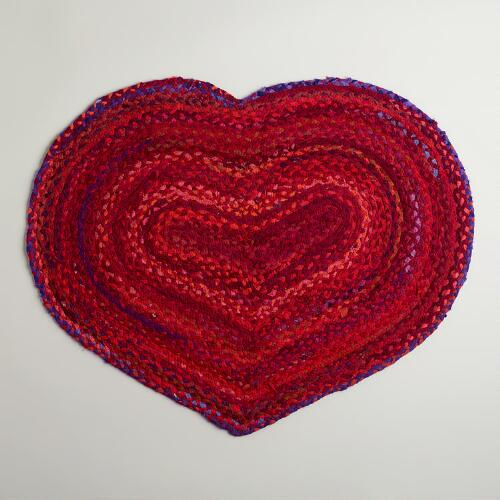 Heart-Shaped Braided Chindi Rug
