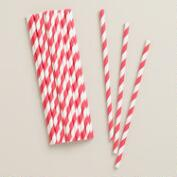 Red and White Striped Paper Straws, 25-Pack