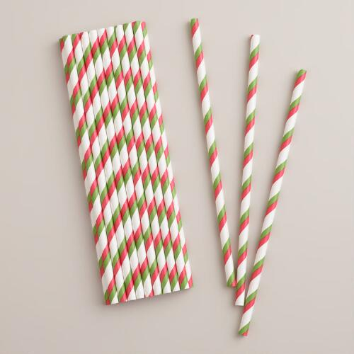 Red, Green and White Striped Paper Straws, 25-Pack